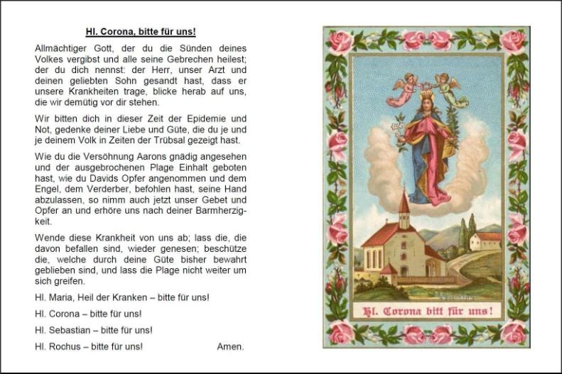Heilige Corona Gebet